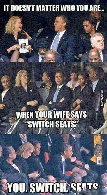 无论你是谁,当你妻子说换个位子时,你都要换