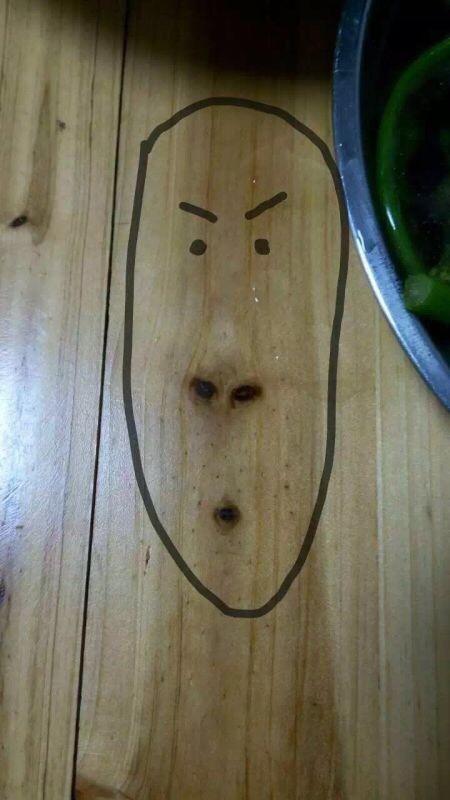 在饭桌上面发现了一枚尔康。
